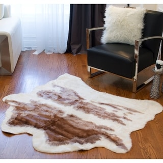 Luxe Brown & White Faux Cowhide Rug/Throw (4' x 5')