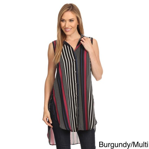 High Secret Women's Sleeveless Striped Button-down Tunic/Blouse