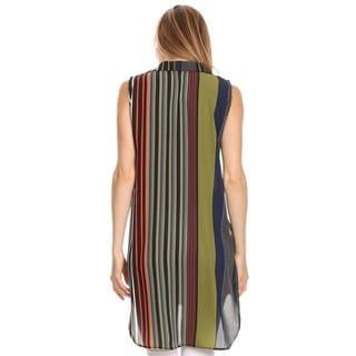 High Secret Women's Sleeveless Striped Button-down Tunic/Blouse