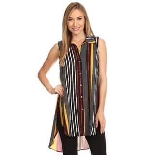 High Secret Women's Sleeveless Striped Button-down Tunic/Blouse|https://ak1.ostkcdn.com/images/products/12222867/P19067740.jpg?impolicy=medium