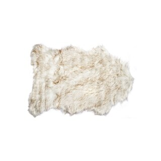 Luxe Gordan Brown Acrylic Faux Sheepskin Rug (2' x 3')