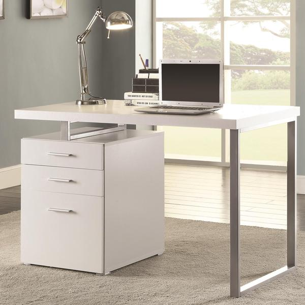 home office white writing computer desk with drawers and file cabinet