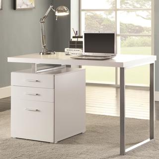 Modern Design Home Office White Writing/ Computer Desk With Drawers And File  Cabinet