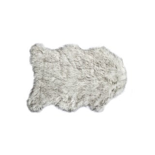 Luxe Gorden Gradient Grey Faux Sheepskin Throw Rug (2' x 3')