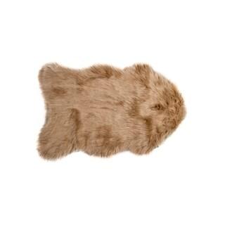 Luxe Gordon Tan Faux Sheepskin Throw Rug (2' x 3')