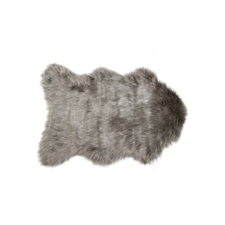 Luxe Gordon Grey Faux-sheepskin 2' x 3' Throw Rug
