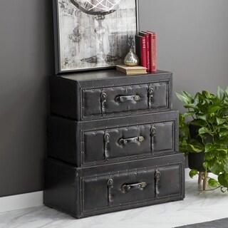 3-drawer Wood Leather Steamer Trunk dresser