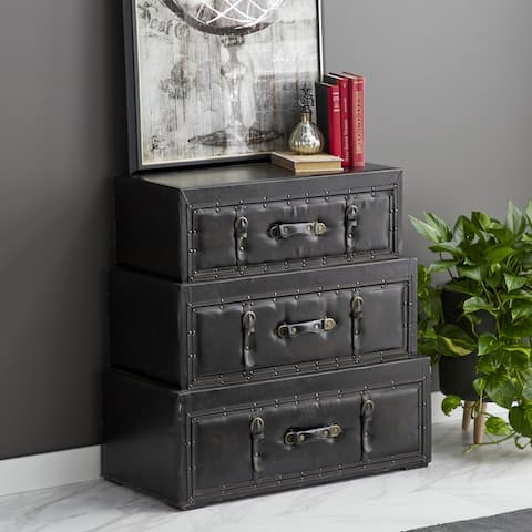 Traditional 3-drawer Wood Leather Stacked Trunk Cabinet by Studio 350