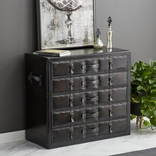 Traditional Wood and Leather Five-Drawer Chest by Studio 350