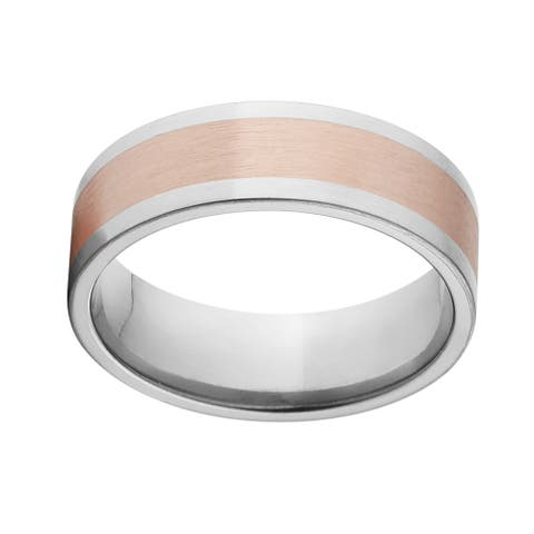 Two-tone Titanium and Copper Ring