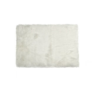 Luxe Hudson Off-white Faux Sheepskin Rug/Throw (5' x 8')