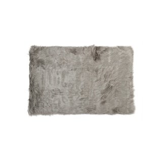 Luxe Hudson Grey Faux Sheepskin Throw Rug (5' x 8')