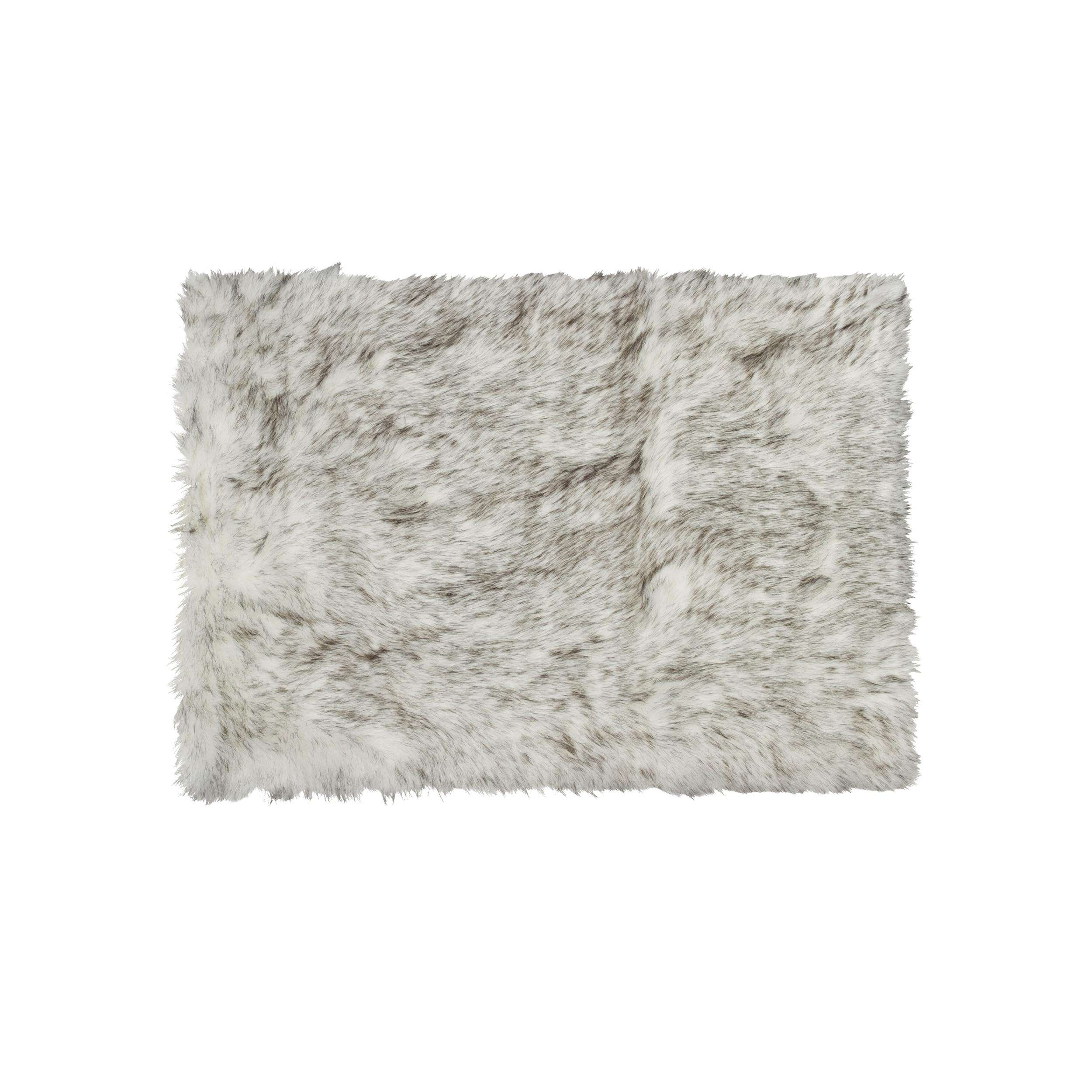 Luxe Hudson Grant Grey Faux Sheepskin Rug Throw 3 X 5