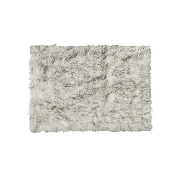 Luxe Hudson Grant Grey Faux Sheepskin Rug Throw 3 X27