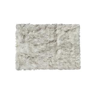 Luxe Hudson Gradient Grey Faux-sheepskin Rug Throw (3' x 5') - 3' x 5'