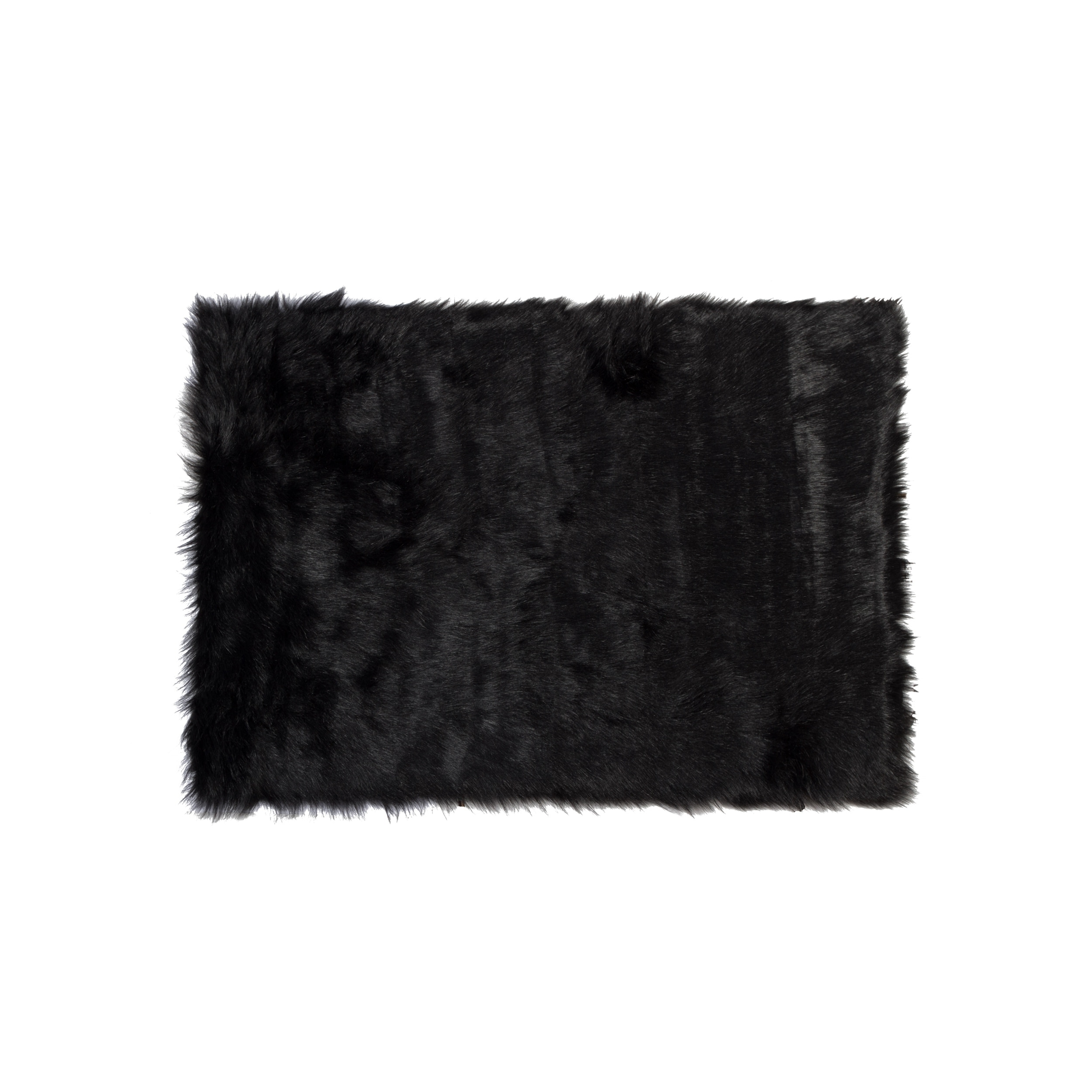 Luxe Hudson Black Faux Sheepskin Throw Rug 3 X 5 3 X 5