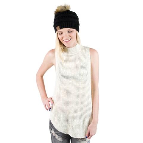 Minkpink Bittersweet Ivory White Chunky Wool Mock Neck Sweater