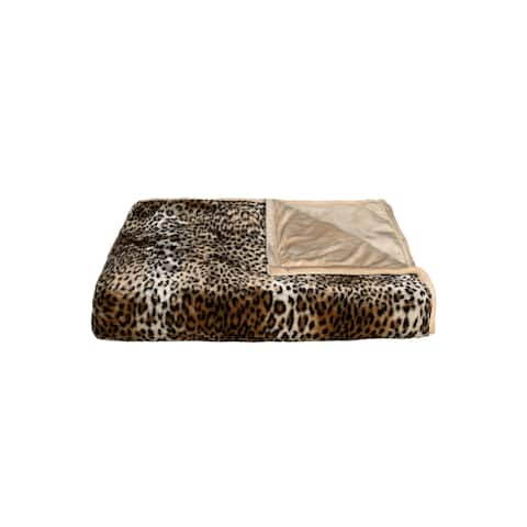 Luxe Faux Leopard Fur 50-inch x 70-inch Throw