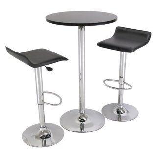 Spectrum 3-piece Black and Chrome Pub Table Set