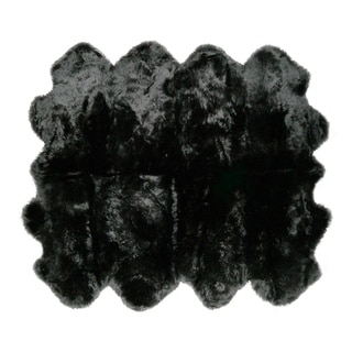 Natural Black New Zealand Sheepskin Rug (6' 1/2 x 6')