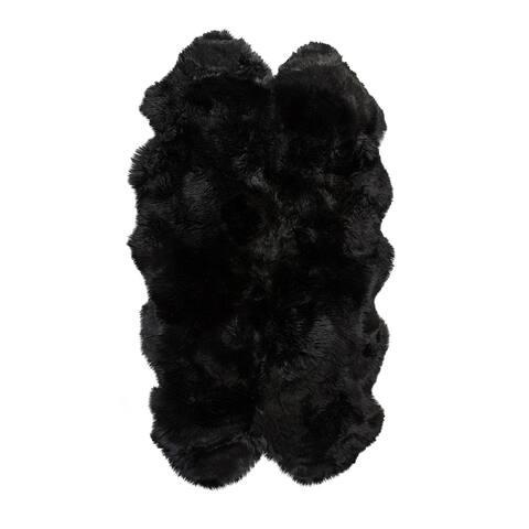 New Zealand Sheepskin Black Quattro Rug (4' x 6') - 4' x 6'