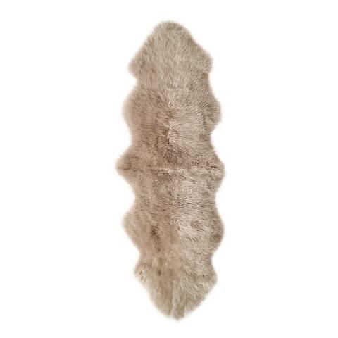 New Zealand Sheepskin Taupe Double Rug/Throw (2' x 6') - 2' x 6'