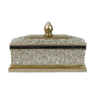 D'Lusso Designs Suzette Collection Gold Resin Large Jewelry Box