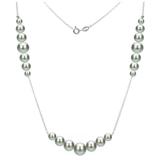 DaVonna Sterling Silver 5-8.5mm Grey Graduated Freshwater High Luster Pearls Chain 18-inch Necklace