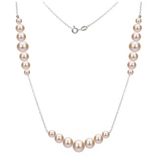 DaVonna Sterling Silver 5-8.5mm Pink Graduated Freshwater High Luster Pearls Chain 18-inch Necklace