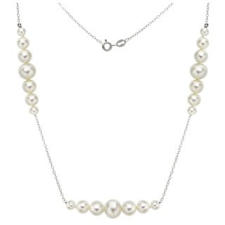 DaVonna Sterling Silver 5-8.5mm White Graduated Freshwater High Luster Pearls Chain 18-inch Necklace