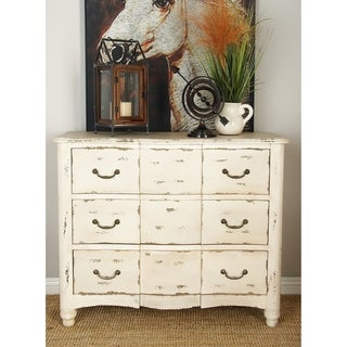 Farmhouse 3-drawer Weathered Antique White Wood Dresser for Studio 350