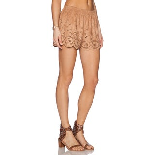 Minkpink Lackawanna Brown Suede Shorts