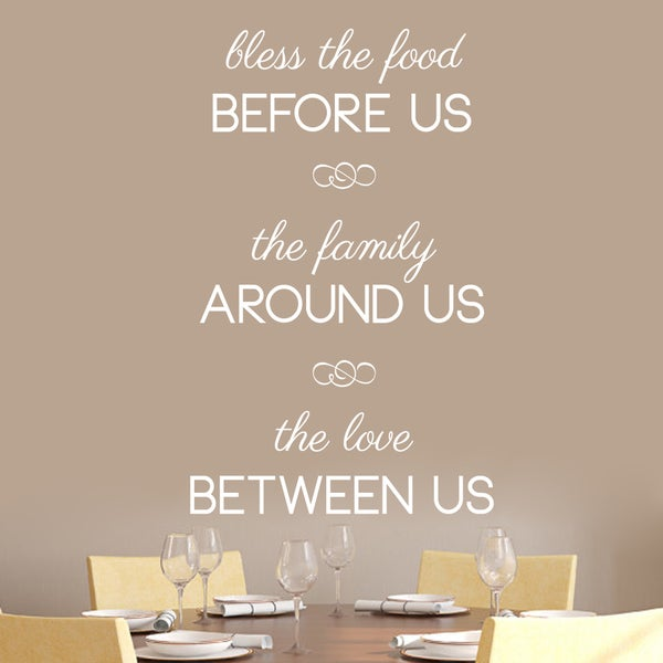 """Bless The Food Before Us Wall Decal - 30"""" wide x 48"""" tall"""