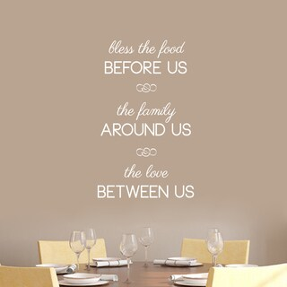 "Bless The Food Before Us Wall Decals - 22"" wide x 36"" tall (Option: White)"
