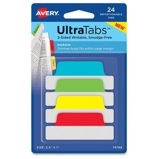 Avery Ultra Margin Tabs - Primary Asst (24/Pack)