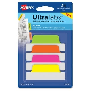Avery Ultra Margin Tabs - Neon (24/Pack)