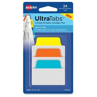 Avery Ultra Repositionable Tabs - Primary Asst (24/Pack)