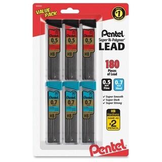 Pentel Super Hi-Polymer Lead Refills Value Pack - Black (6/Pack)