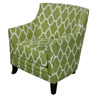 Porter Cassie Apple Green And White Arabesque Accent Chair With Nailhead  Trim