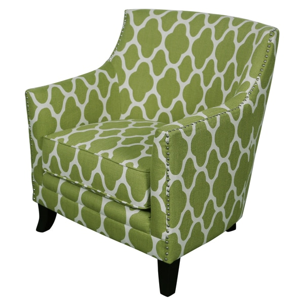 Superbe Porter Cassie Apple Green And White Arabesque Accent Chair With Nailhead  Trim