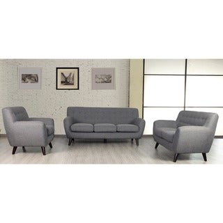 Porter Edie Raconteur Stone Grey Mid Century Modern 3 Piece Living Room Set