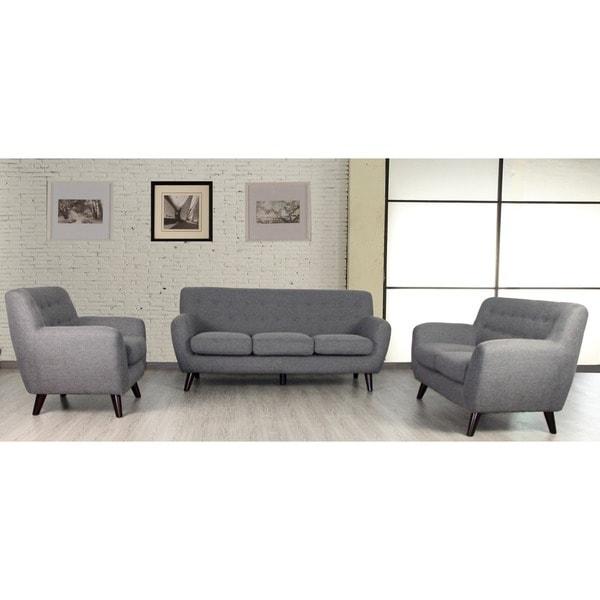 edie raconteur stone grey mid century modern 3 piece living room set