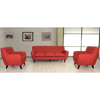 Porter Edie Pumpkin Orange Mid Century Modern 3 Piece Living Room Set