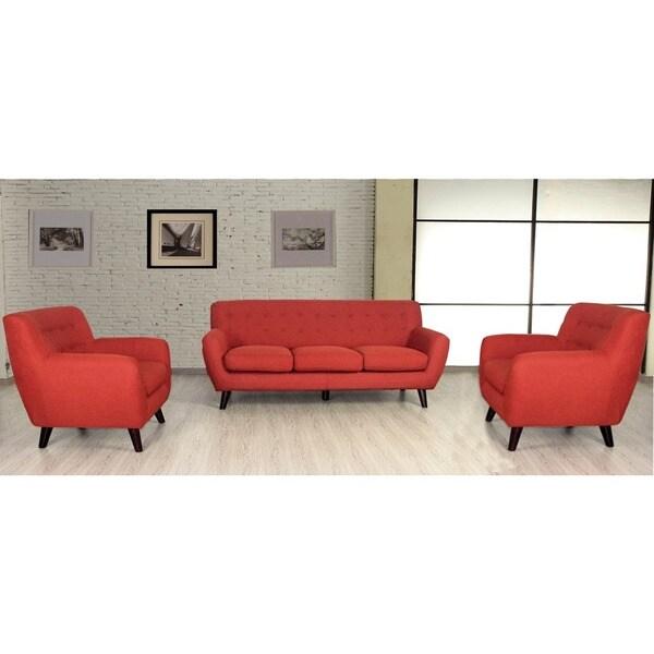 porter edie pumpkin orange mid century modern 3 piece living room set