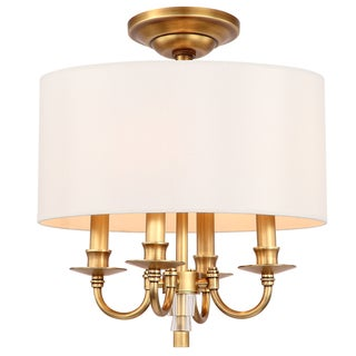 Crystorama Lawson Collection 4-light Aged Brass Semi-Flush Mount