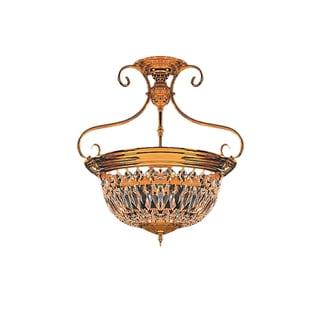 Crystorama Traditional 5-light Polished Brass Semi-Flush Mount