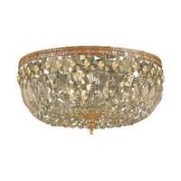 Crystorama Ceiling Mount Collection 3-light Olde Brass/Golden Teak Crystal Flush Mount