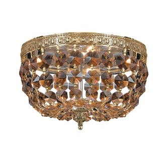 Crystorama Ceiling Mount Collection 2-light Olde Brass/Golden Teak Crystal Flush Mount