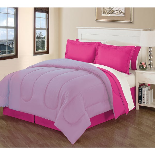 Fuchsia/ Purple 8-piece King-Size Bed in a Bag
