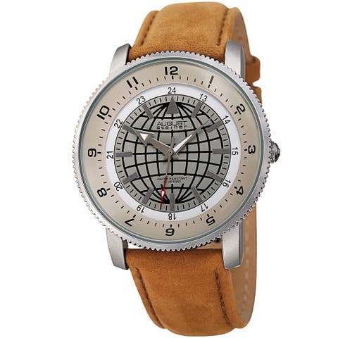 August Steiner Men's Quartz Easy-to-Read Leather Brown Strap Watch